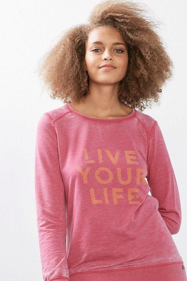 ESPRIT Sport Sweatshirt mit Logo und Used-Finish in PINK FUCHSIA