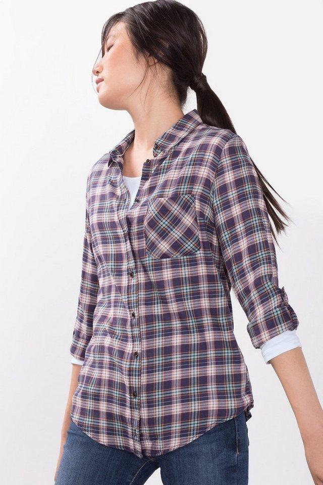 ESPRIT CASUAL Hemdbluse aus 100% Baumwolle in NAVY