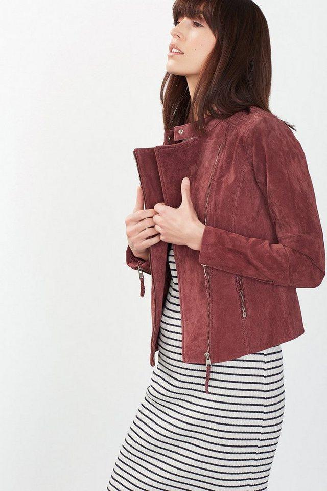 ESPRIT CASUAL Jacke im Biker-Stil, 100% Leder in BORDEAUX RED