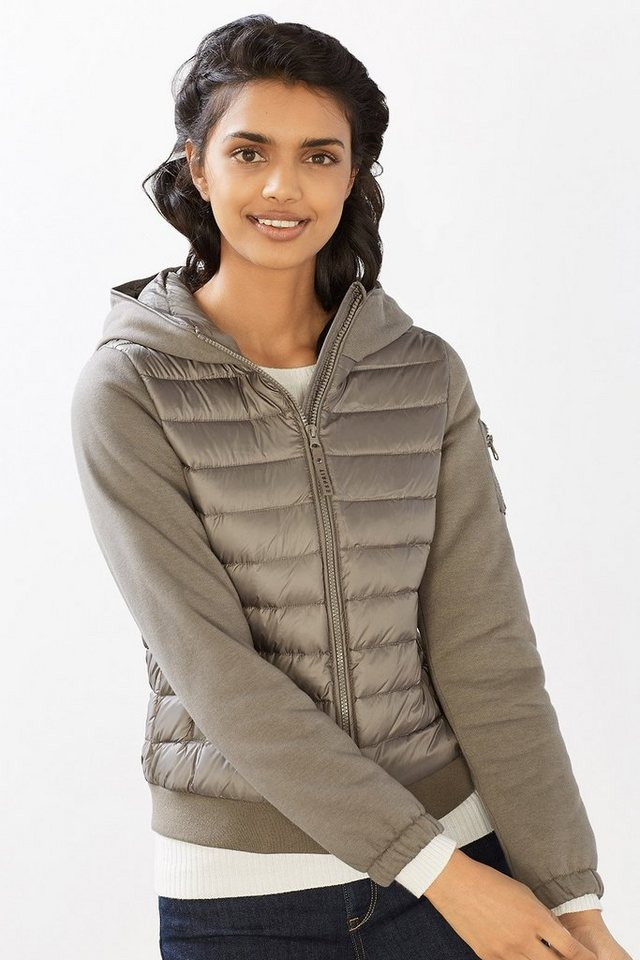 ESPRIT CASUAL Stepp-Blouson mit Kapuze, Material-Mix in LIGHT GUNMETAL
