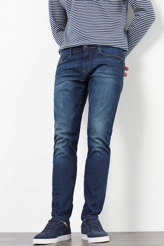 ESPRIT CASUAL Stretch-Jeans mit Used-Effekten in BLUE MEDIUM WASHED