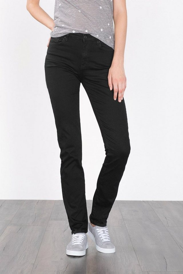 ESPRIT CASUAL Tiefschwarze High-Waist-Denim mit Stretch in BLACK