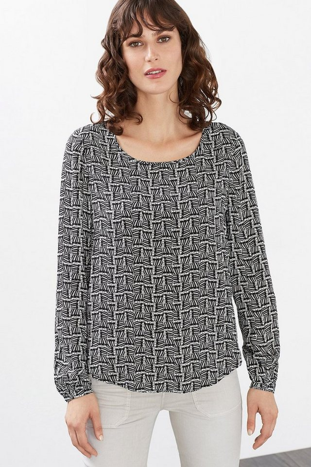 ESPRIT CASUAL Fließende Bluse mit graphischem Print in BLACK