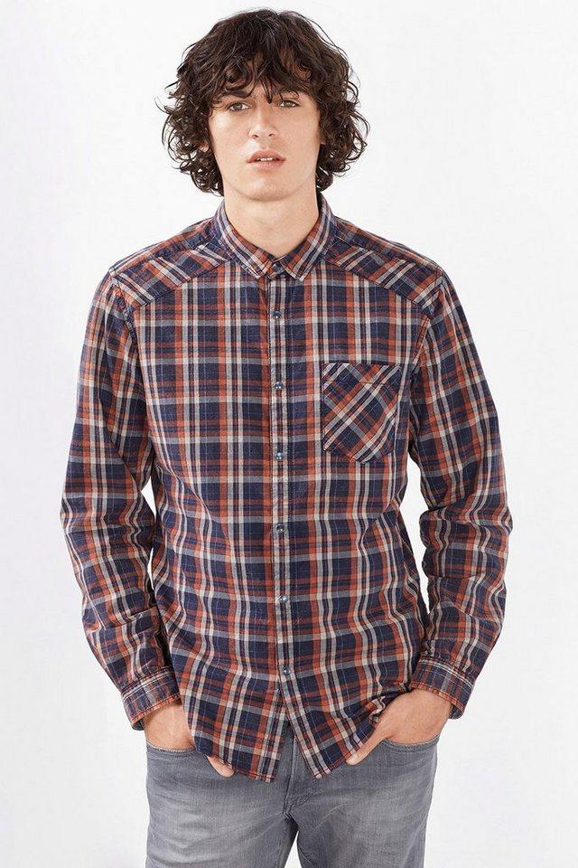 EDC Kariertes Hemd, 100% Baumwolle in NAVY