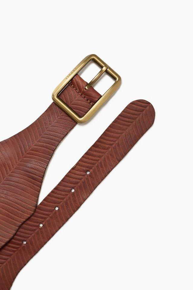 ESPRIT CASUAL Weicher Ledergürtel mit Palmblattmuster in BROWN