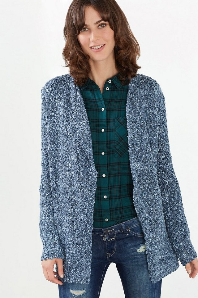 EDC Offener Cardigan aus Struktur-Strick in GREY BLUE