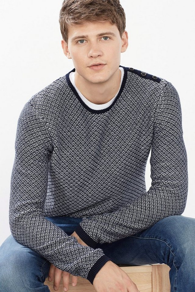 ESPRIT CASUAL 2Tone-Pulli mit Muster, 100% Baumwolle in NAVY