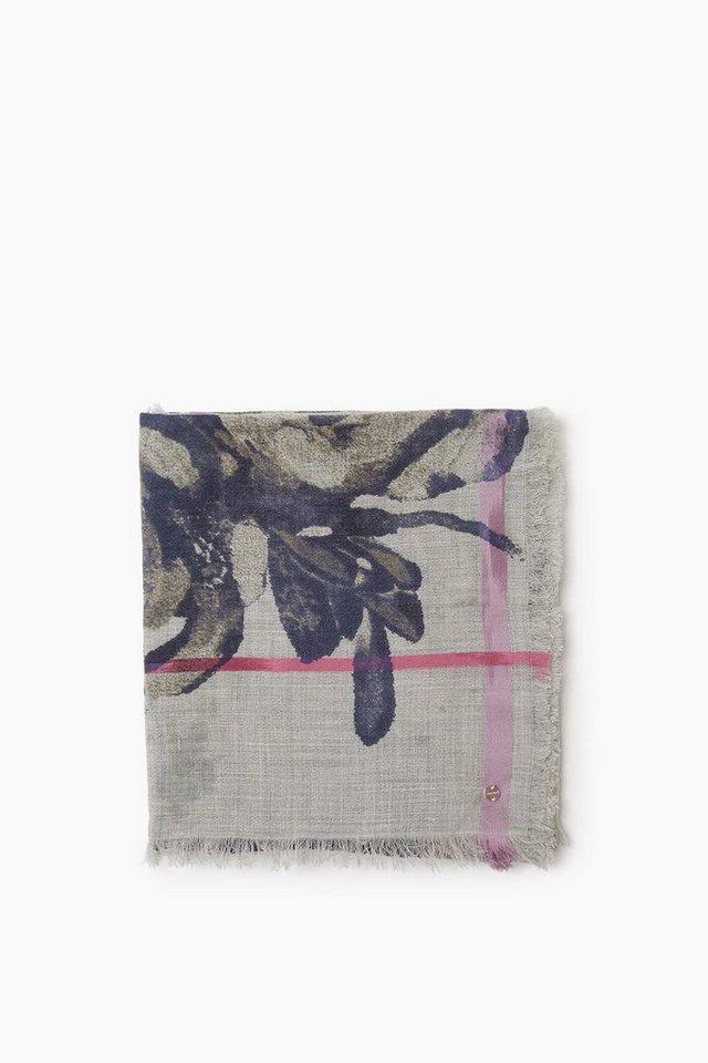 ESPRIT CASUAL Fließender Webschal mit floralem Print in LIGHT GREY