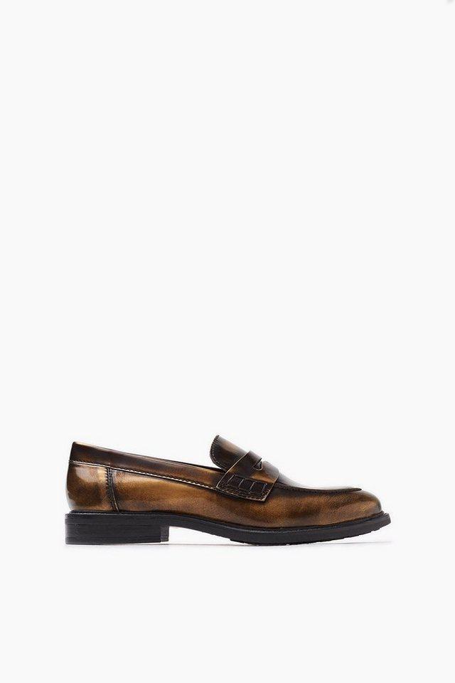 ESPRIT CASUAL Vintage Style Leder-Loafer in BROWN