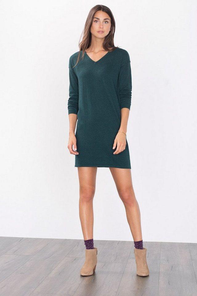 EDC Basic Feinstrick-Kleid in BOTTLE GREEN