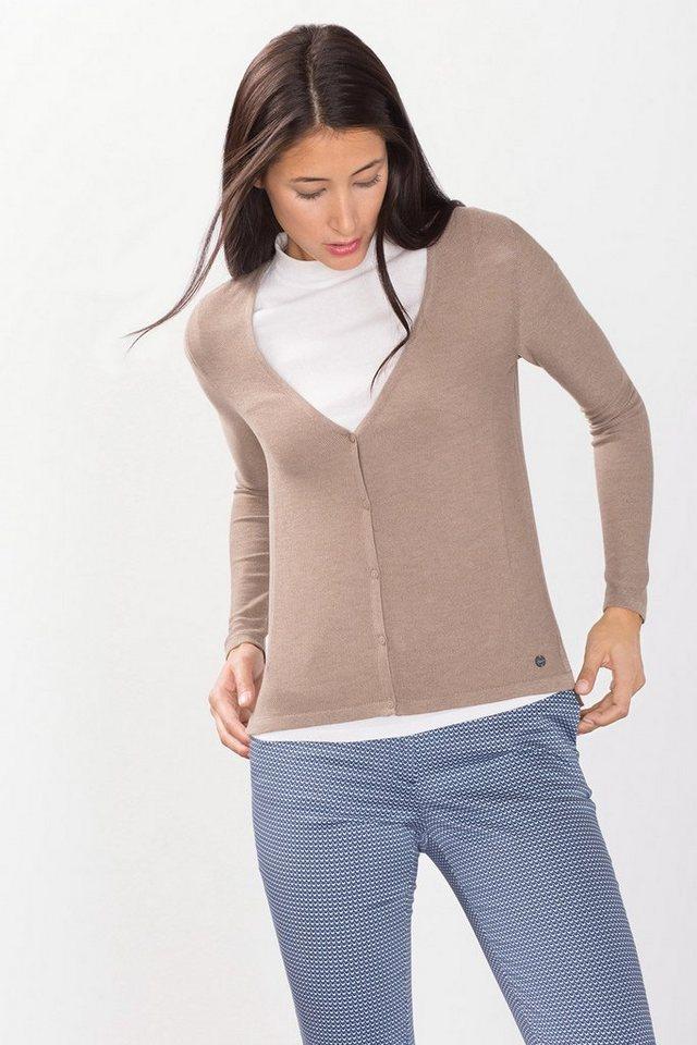 ESPRIT CASUAL Feinstrick-Cardigan mit Strukturmuster in TAUPE