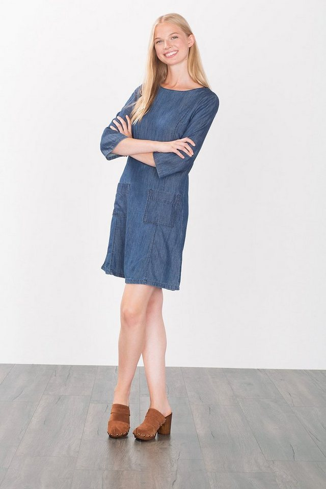 EDC Jeanskleid aus Baumwolle/Lyocell in BLUE DARK WASHED