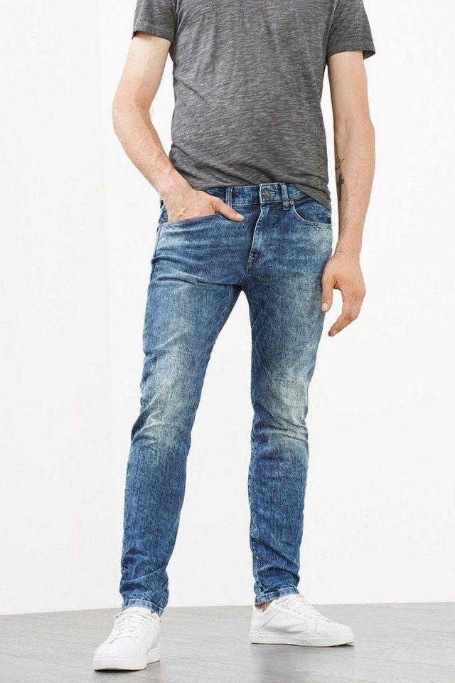 ESPRIT CASUAL Stretch-Jeans mit starken Wascheffekten in BLUE MEDIUM WASHED