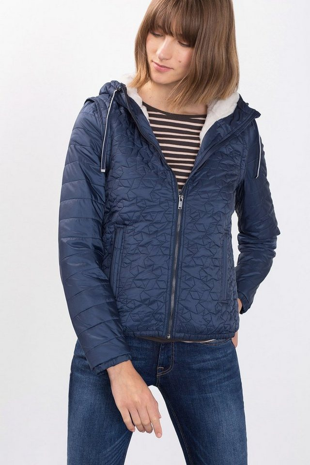 EDC Steppjacke/Weste mit Teddy-Futter in NAVY