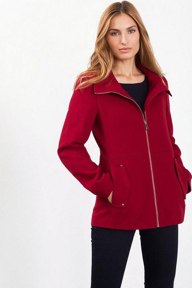 ESPRIT CASUAL Weiche Woll-Mix Jacke mit Reißverschluss in RED