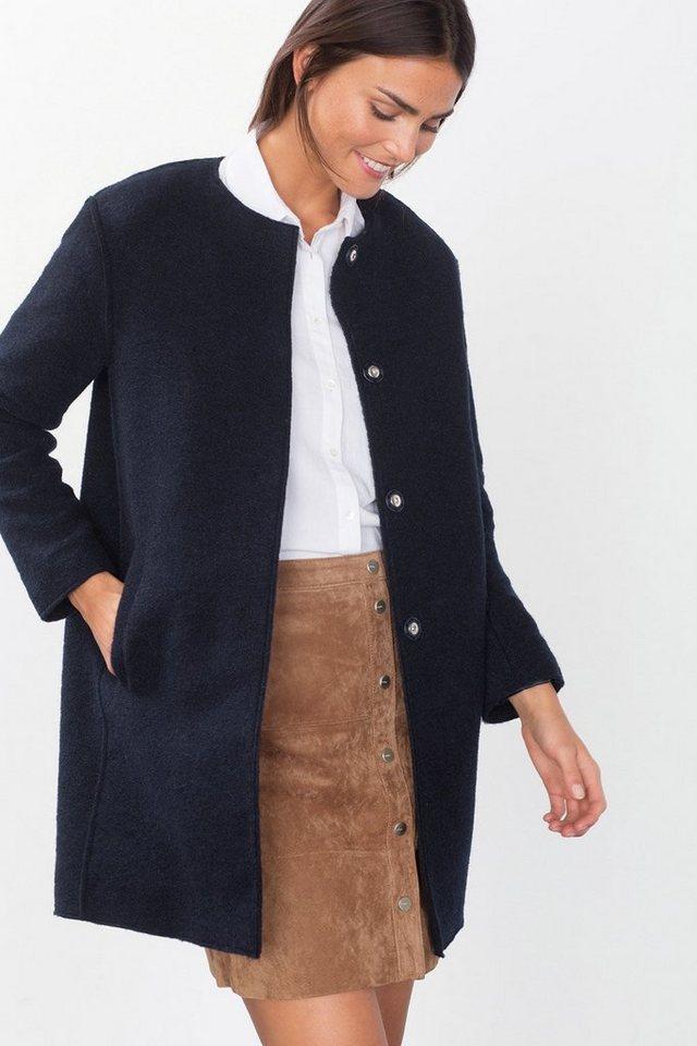 ESPRIT CASUAL Mantel mit verdeckten Druckern, Woll-Mix in NAVY