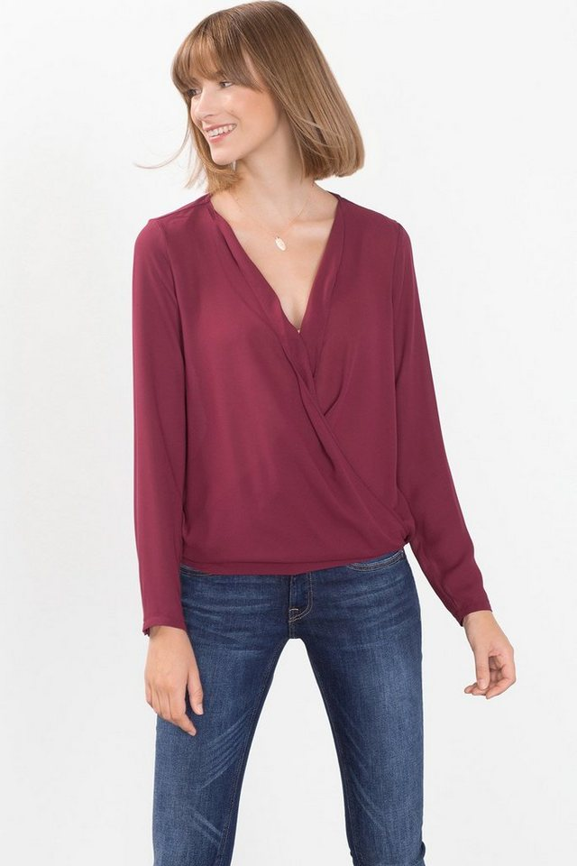 ESPRIT CASUAL Leichte Wickelbluse aus Material-Mix in BORDEAUX RED