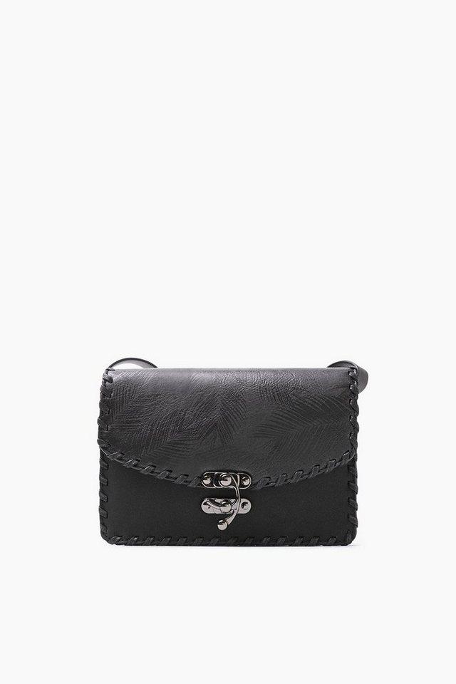 ESPRIT CASUAL Tasche in Lederoptik mit Federmuster in BLACK