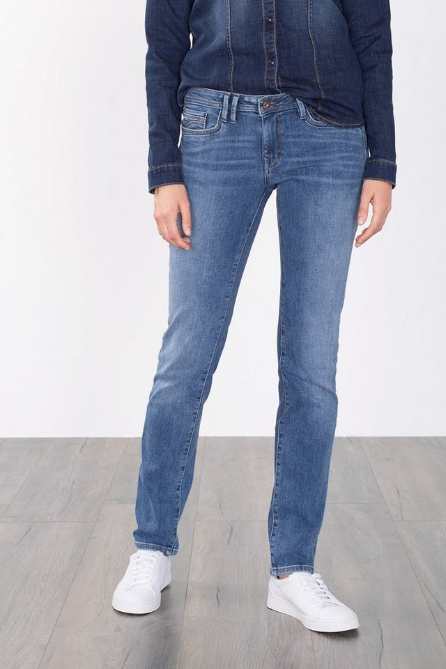EDC Stretch-Jeans mit Klappentaschen in BLUE MEDIUM WASHED