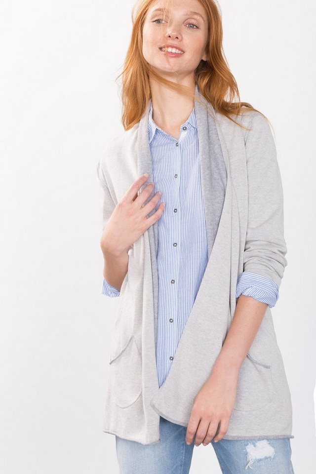 ESPRIT CASUAL Doubleface-Cardigan, 100% Baumwolle in CREAM BEIGE