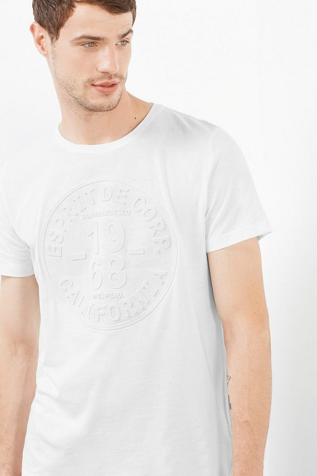 ESPRIT CASUAL Baumwoll Jersey T-Shirt mit Esprit-Prägung in WHITE