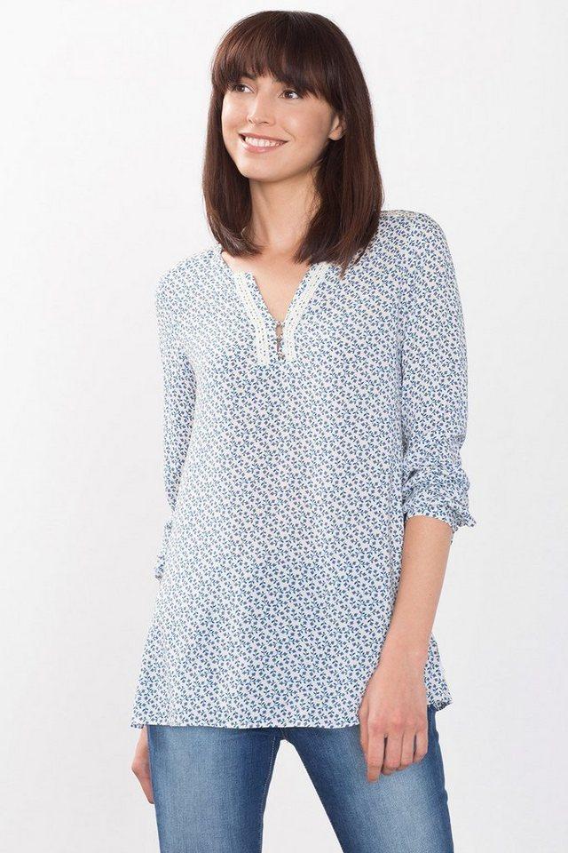 ESPRIT CASUAL Fließende Print-Bluse im Henley-Stil in OFF WHITE