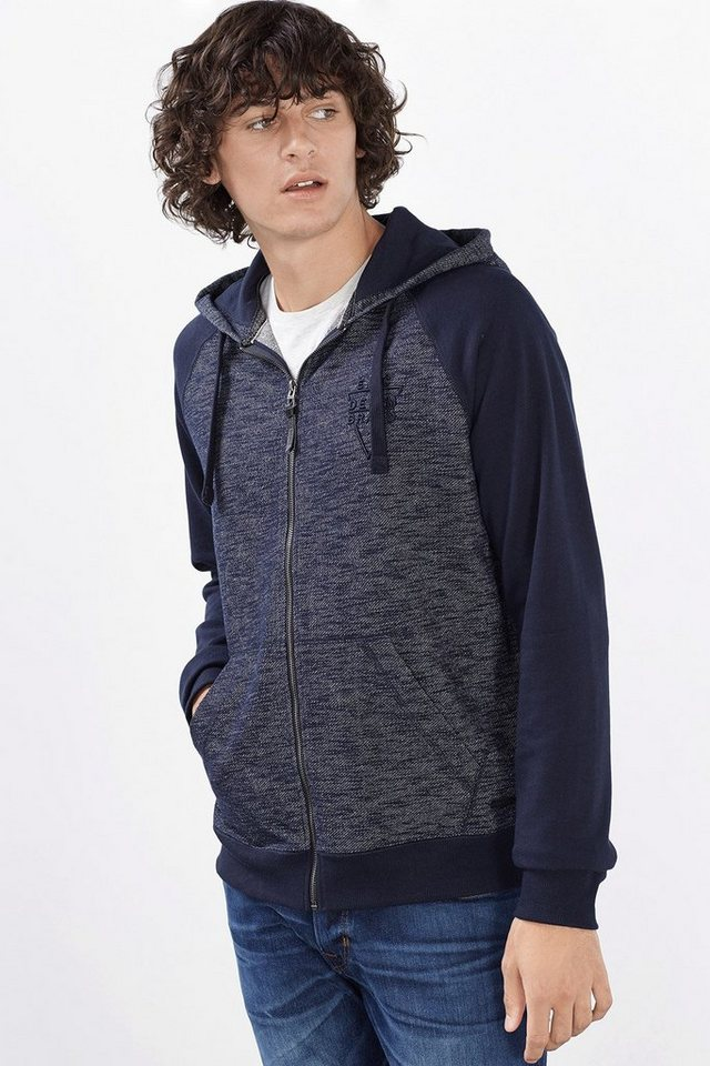 EDC 2Tone Zipp Sweat Hoodie in NAVY
