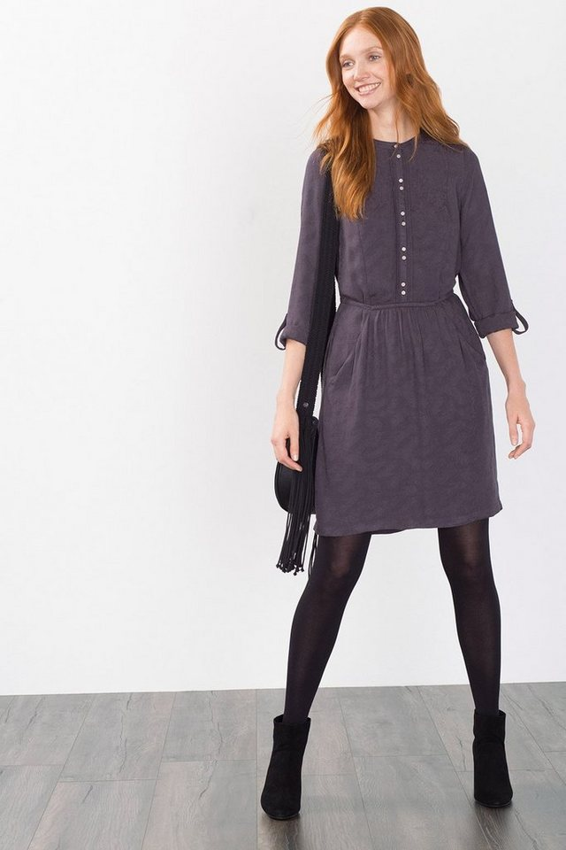 ESPRIT CASUAL Fließendes Jacquard-Kleid in DARK GREY