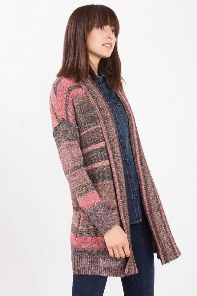 ESPRIT CASUAL Grobstrick-Cardigan aus Baumwoll-Mix in TAUPE