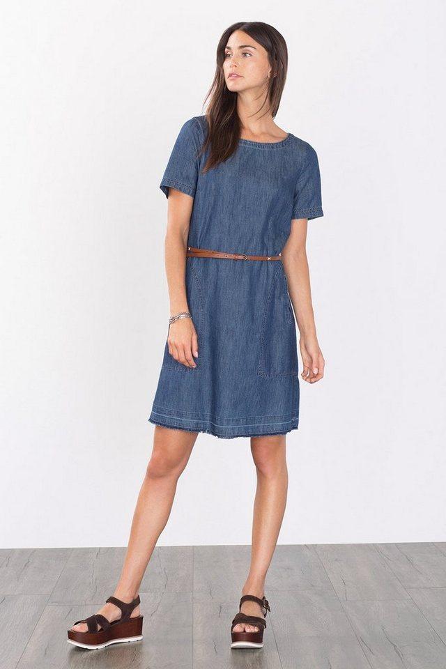 EDC Denim-Kleid mit Gürtel und Taschen in BLUE DARK WASHED