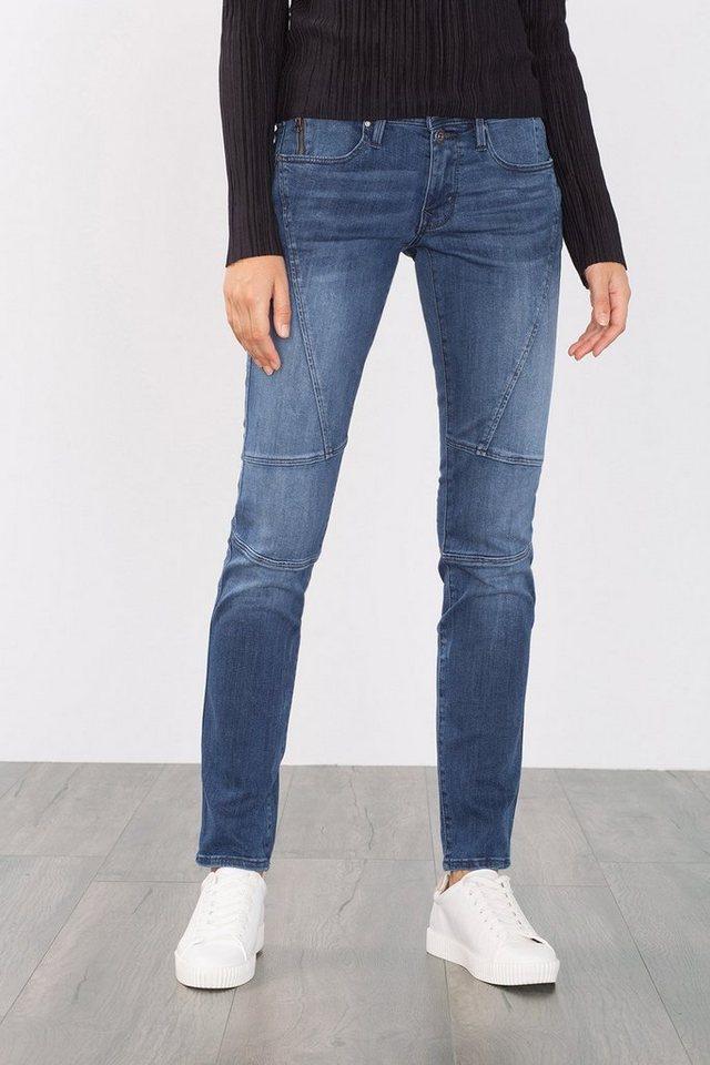 EDC Stretch-Jeans mit Abnähern in BLUE MEDIUM WASHED