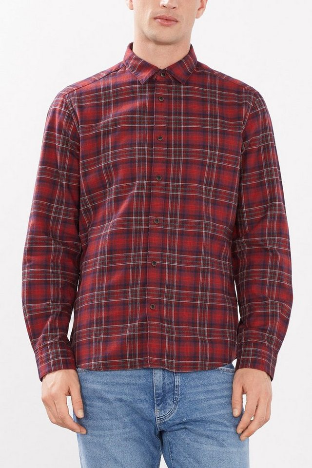 ESPRIT CASUAL Kariertes Flanellhemd, 100% Baumwolle in BORDEAUX RED