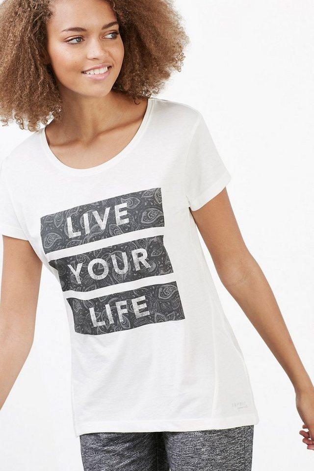 ESPRIT Baumwoll-Mix Sport T-Shirt mit Statement in OFF WHITE