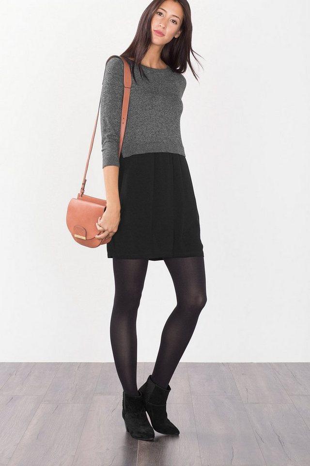 EDC Midi-Kleid aus Strick und Crépe in BLACK