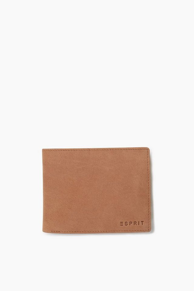 ESPRIT CASUAL Büffellederbörse mit Logoprägung in BROWN