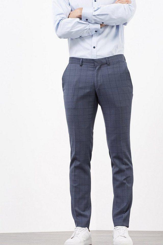 ESPRIT COLLECTION Karierte Anzughose aus Schurwoll-Mix in NAVY