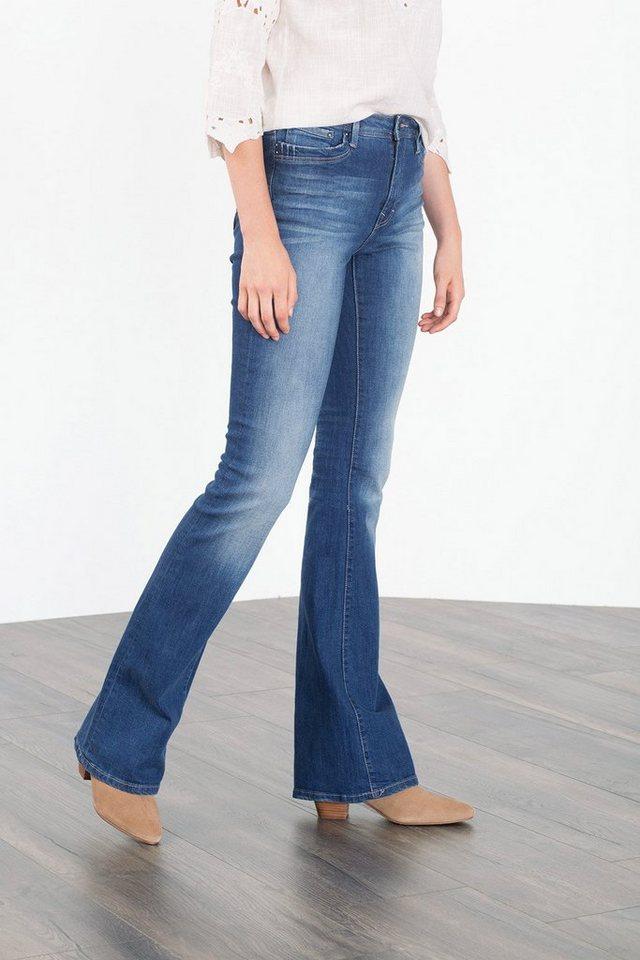 EDC Flared-Jeans mit Ripped-Effekten in BLUE DARK WASHED
