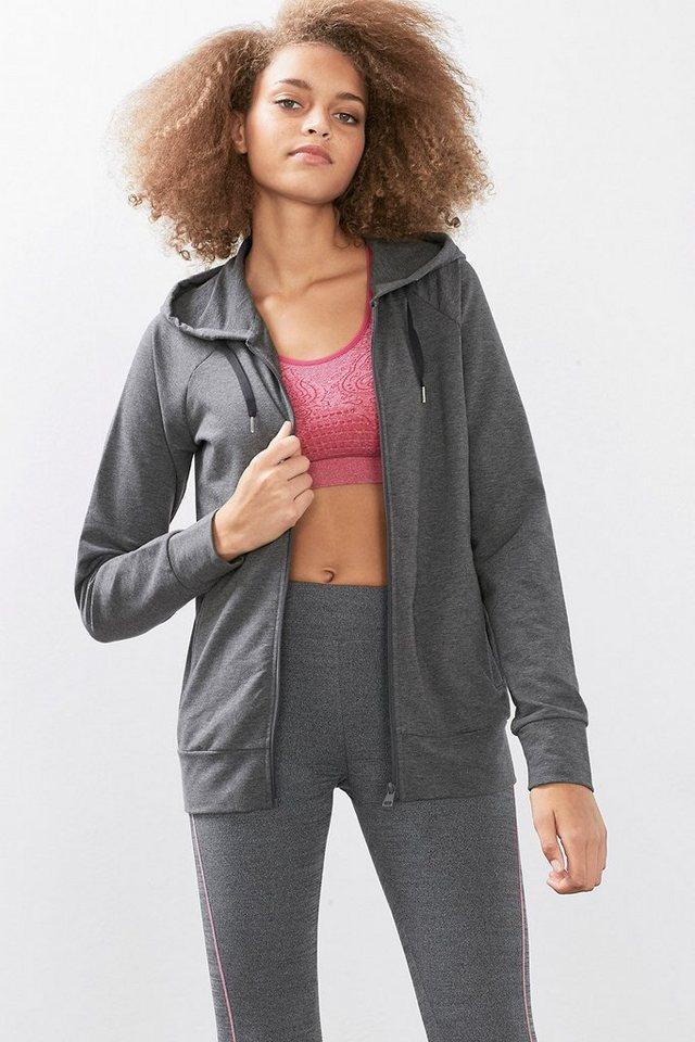 ESPRIT Sport Zip Hoodie aus Baumwoll-Mix Sweat in DARK GREY