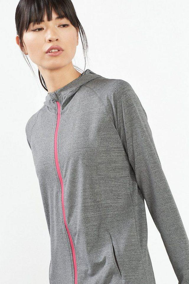 ESPRIT Sport Zipp-Hoodie aus Funktions Jersey in DARK GREY