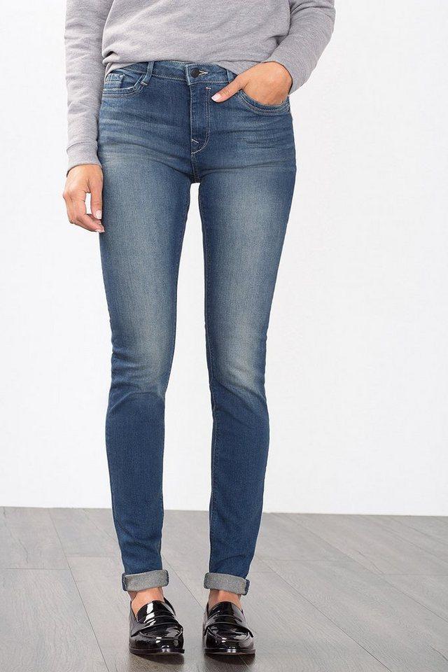 EDC Stretch-Jeans mit Ripped-Effekten in BLUE DARK WASHED