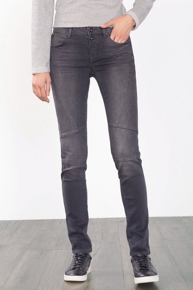 EDC Stretchige Jeans mit Abnähern in GREY DARK WASHED