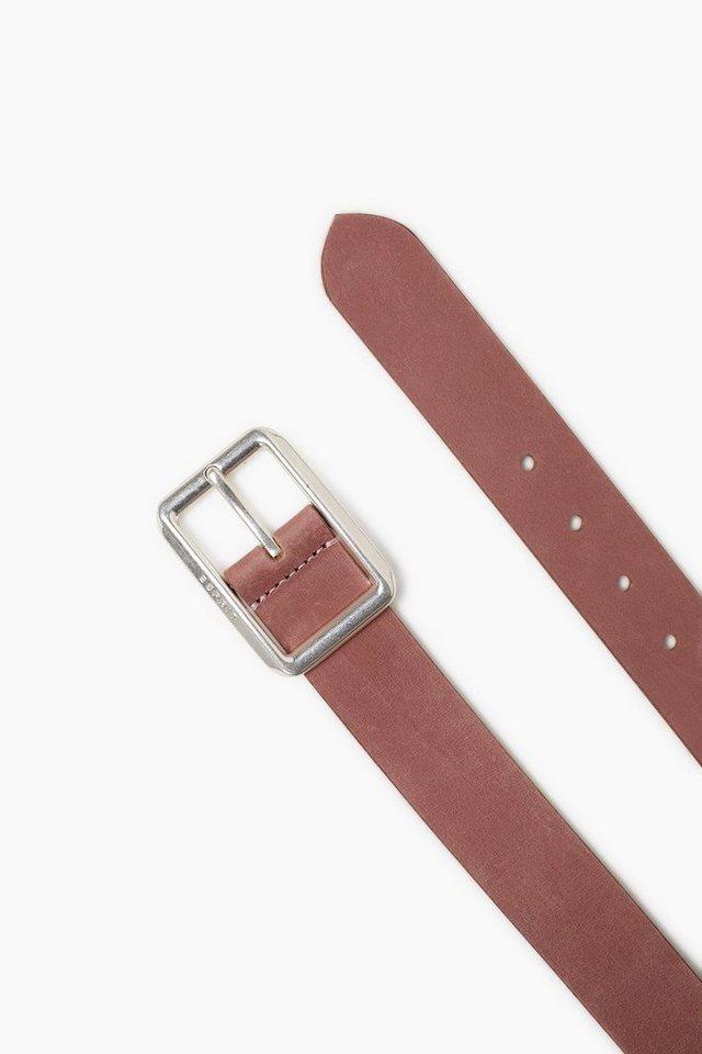 ESPRIT CASUAL Gebrushter Ledergürtel mit Logoschließe in DARK OLD PINK