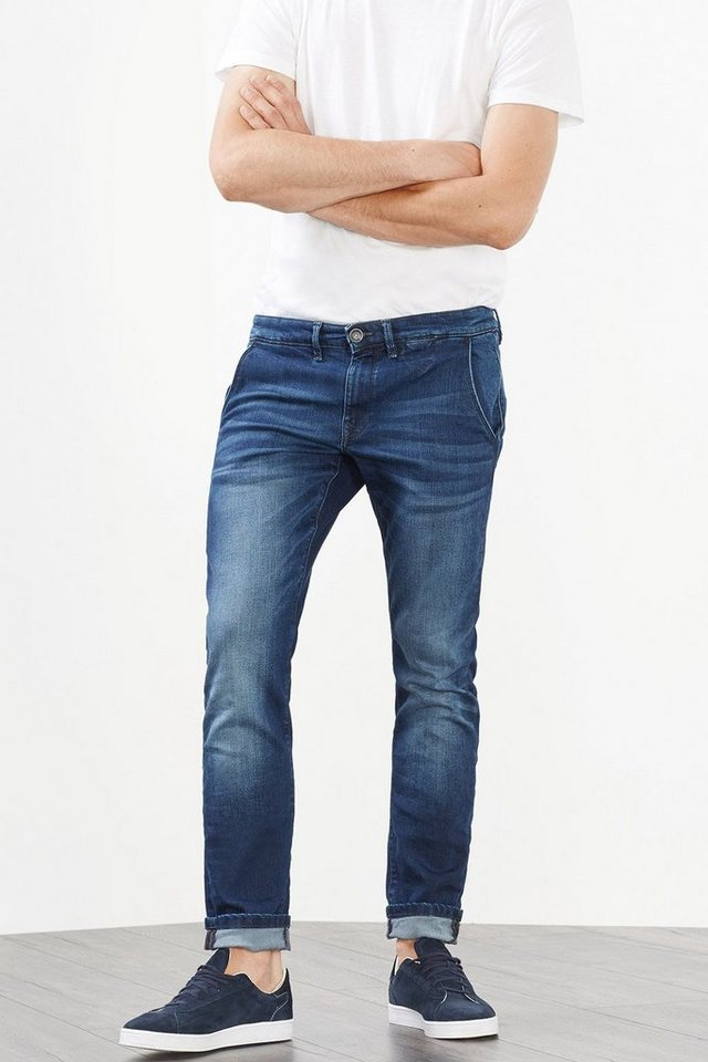 ESPRIT CASUAL Stretch-Jeans im Chino-Stil in BLUE DARK WASHED