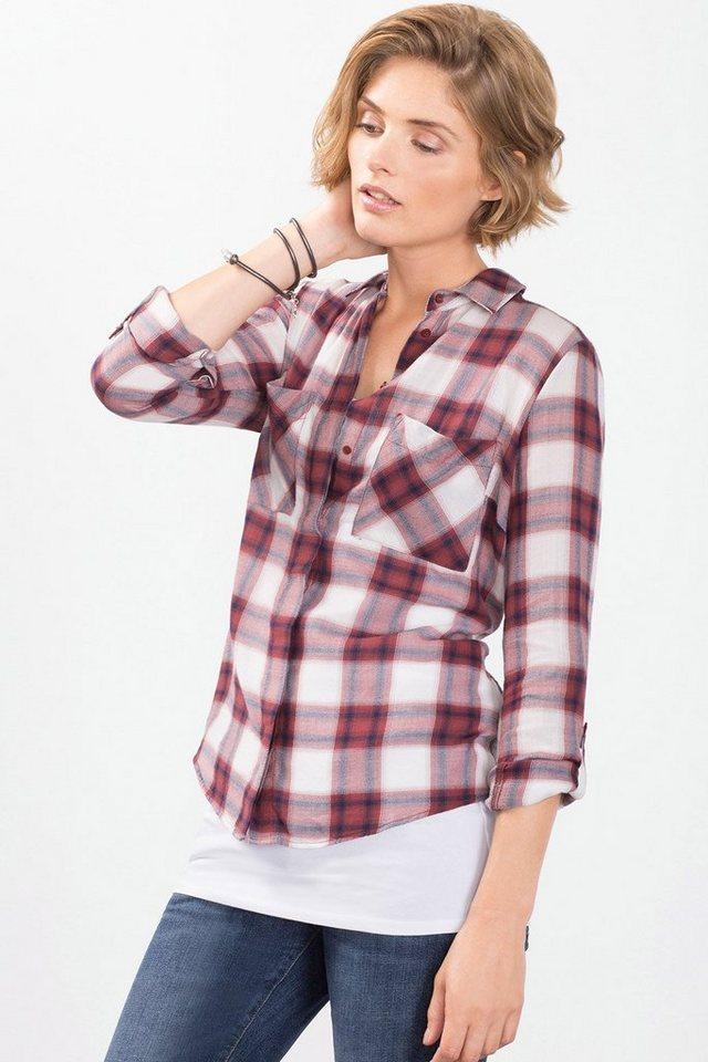 EDC Turn-up-Bluse aus 100% Baumwolle in GARNET RED
