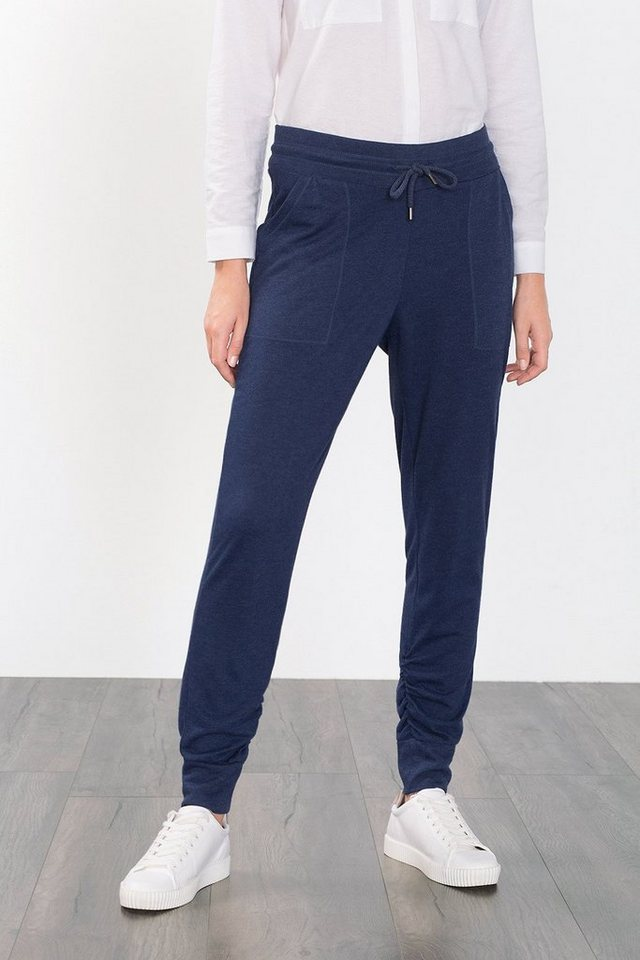 ESPRIT CASUAL Lockere Jersey-Hose in Melange-Optik in NAVY