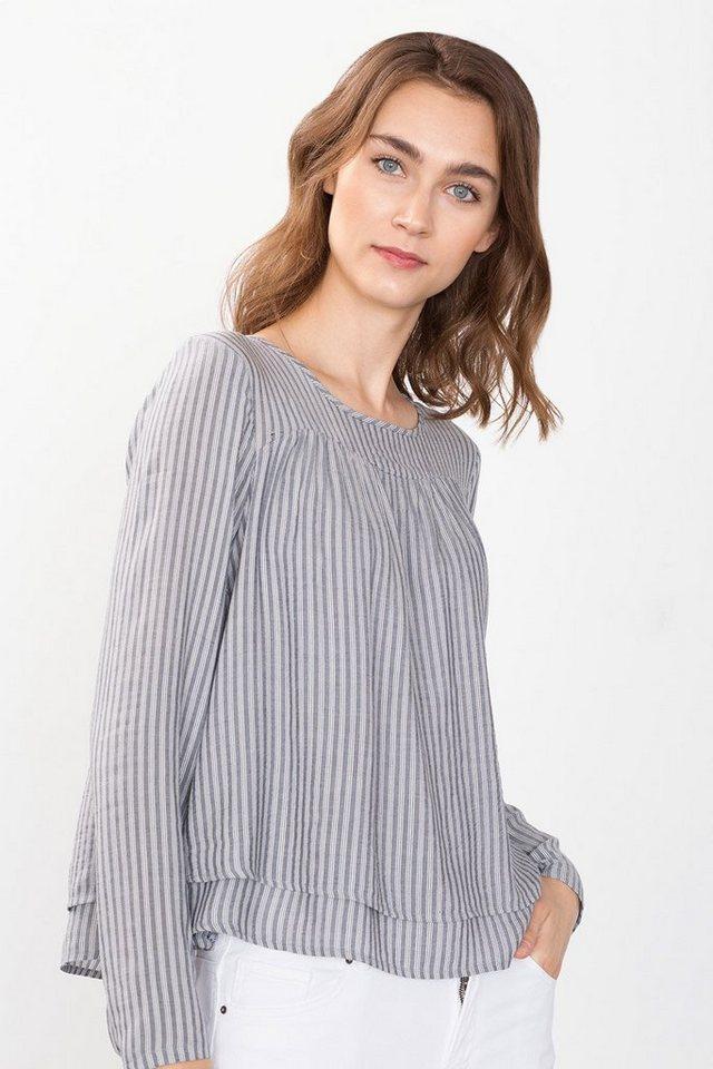 ESPRIT CASUAL Fließende Layer-Bluse aus Leinen-Mix in BLUE