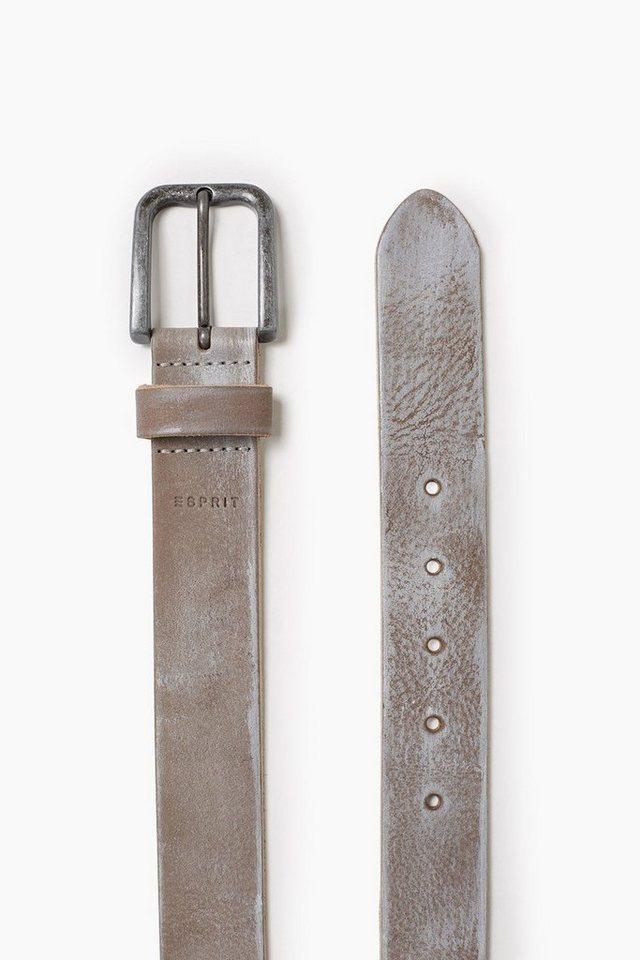 ESPRIT CASUAL Vintage Ledergürtel mit Metallschließe in TAUPE