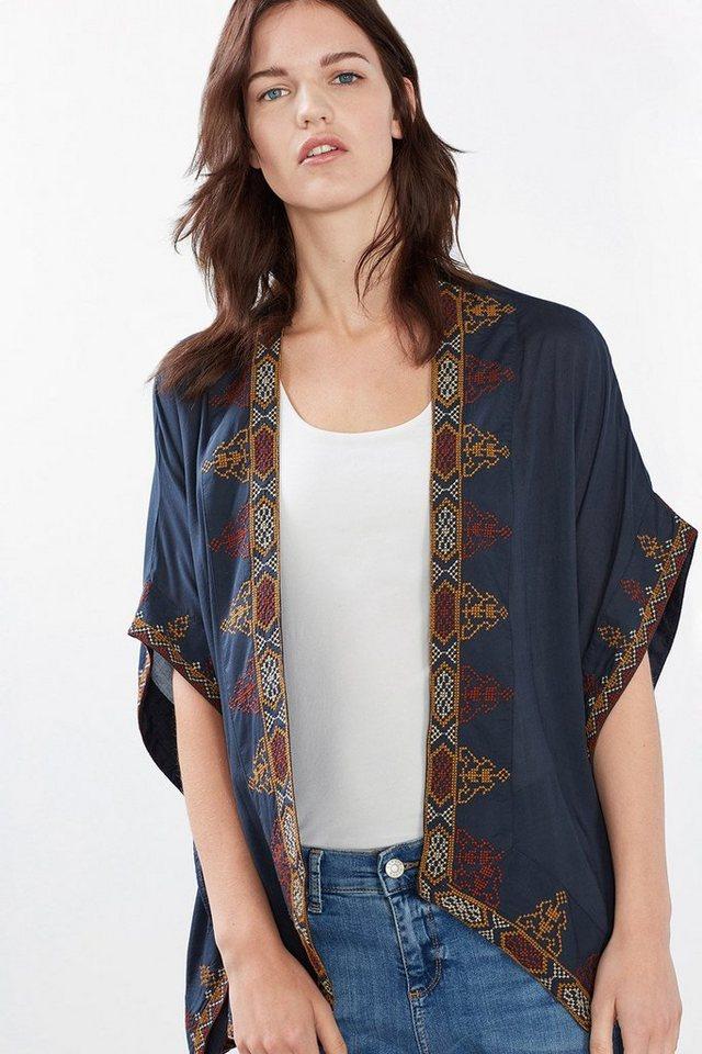 ESPRIT CASUAL Leichter Kimono mit edler Stickerei in DARK BLUE