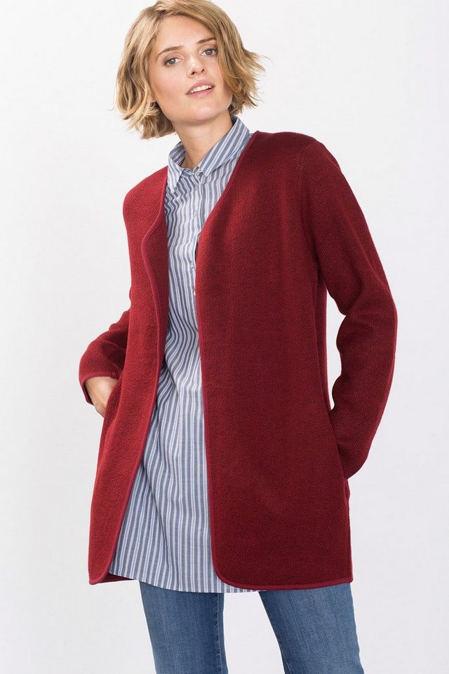 ESPRIT CASUAL Offener Strickmantel im Melange-Look in GARNET RED