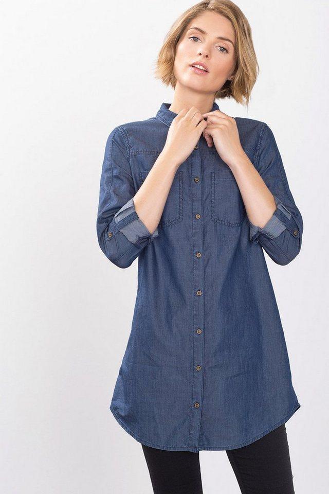 EDC Lange Hemdbluse aus softem Denim in BLUE DARK WASHED